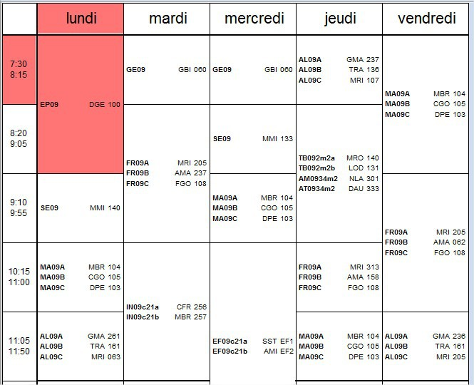 Exemple d'horaire