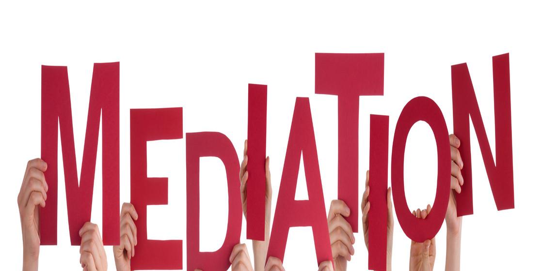 Many Caucasian People And Hands Holding Red Letters Or Characters Building The Isolated English Word Mediation On White Background